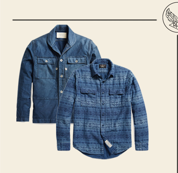 Two relaxed indigo button-down shirts