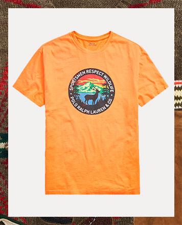 Orange tee with wildlife patch graphic