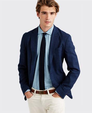 Model in navy blazer