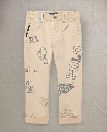 Chinos with doodle-inspired graphics all over.