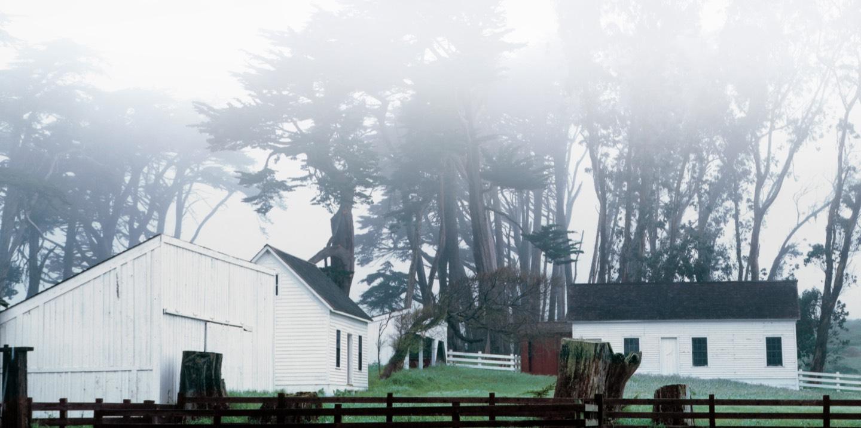 White barn & wooded fence shrouded in mist