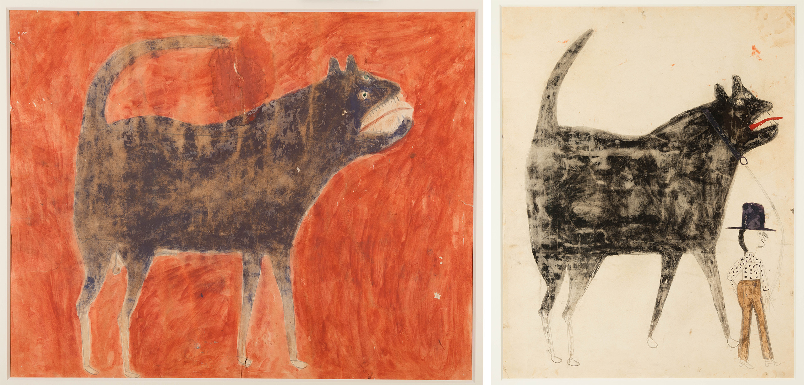 (Left) <em>Mean Dog (Verso: Man Leading Mule)</em>, by Bill Traylor, ca. 1939–1942, poster paint and pencil on cardboard. Collection of Jerry and Susan Lauren. Photo: Matt Flynn © Smithsonian Institution. (Right) <em>Man and Large Dog (Verso: Man and Woman)</em>, by Bill Traylor, ca. 1939–1942, poster paint and pencil on cardboard. Collection of Jerry and Susan Lauren. Photo: Matt Flynn © Smithsonian Institution