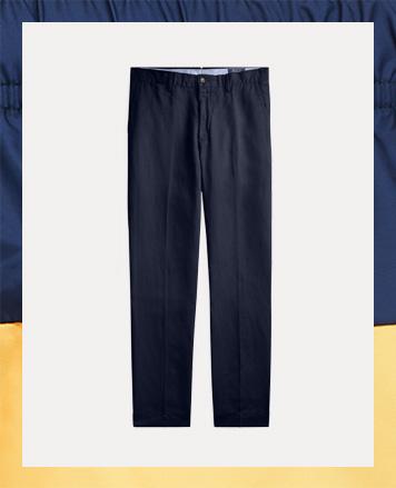 Blue pants with a buttoned elasticized wait