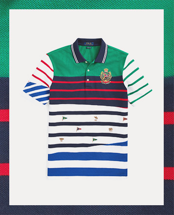 Multicolored-stripe Polo shirt with nautical flag embroidered accents