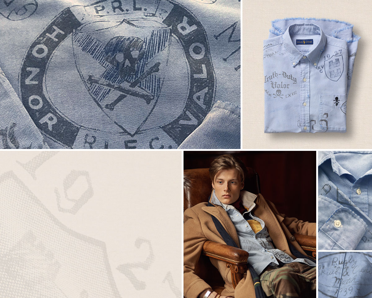Collage of light blue oxford shirt with stenciled motifs