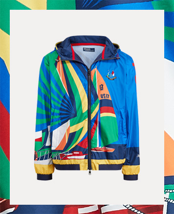Jacketed designed with a large, multicolored sailboat-inspired graphic