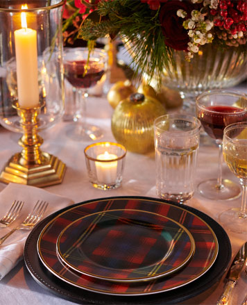 Table set with plaid plaids & gold-tone utensils