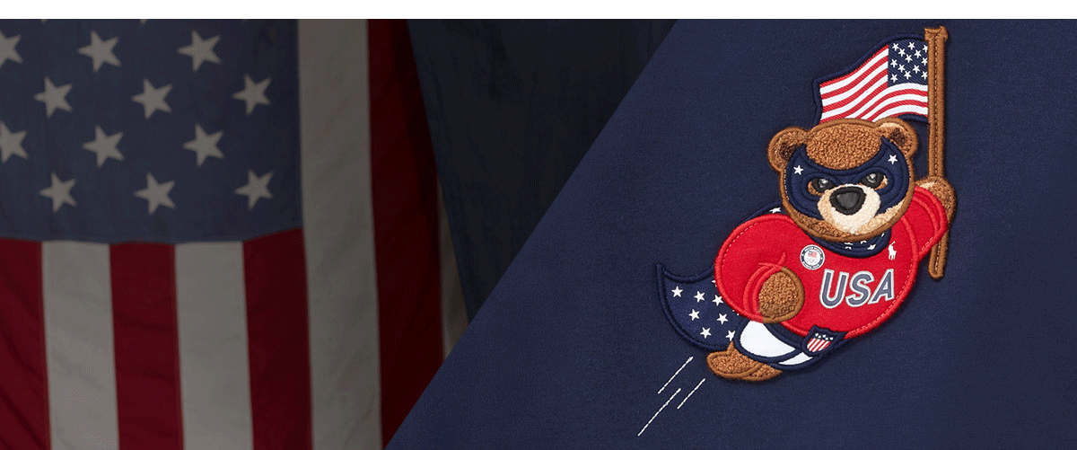 Graphic of Polo Bear wearing Team USA apparel & holding American flag