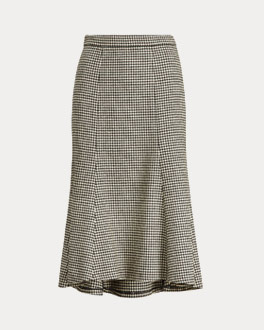Black & white houndstooth skirt with flounce hem