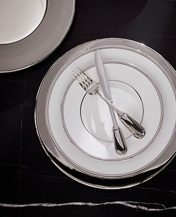 Elegant silver & white plates