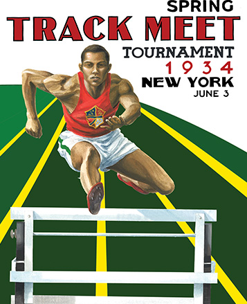 Vintage-inspired graphic of hurdler