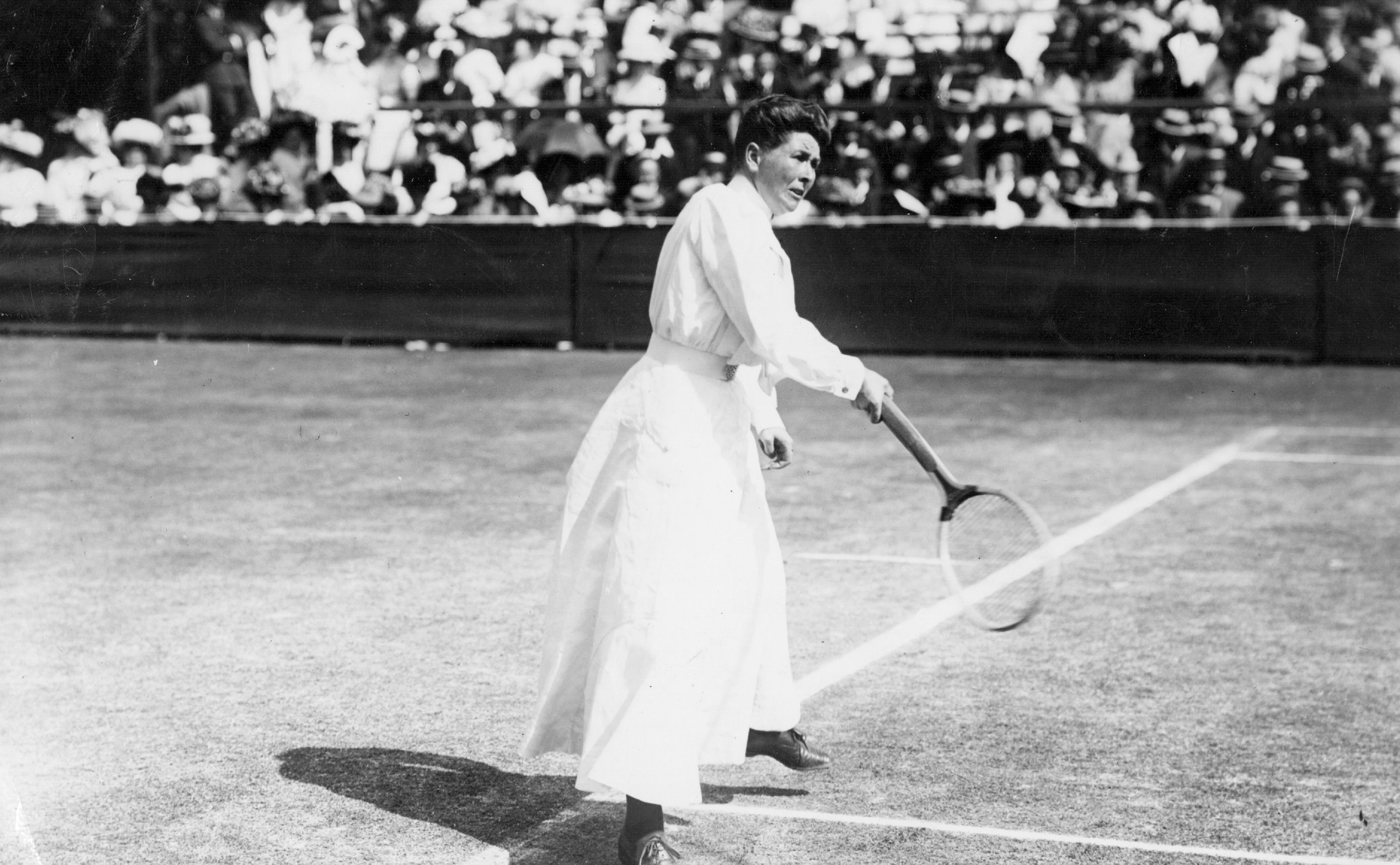 Wimbledon ladies' singles champion Charlotte Sterry (nee Cooper) in action at Wimbledon
