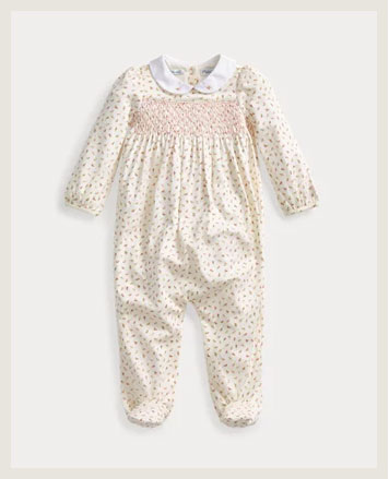 Coverall with allover floral pattern.