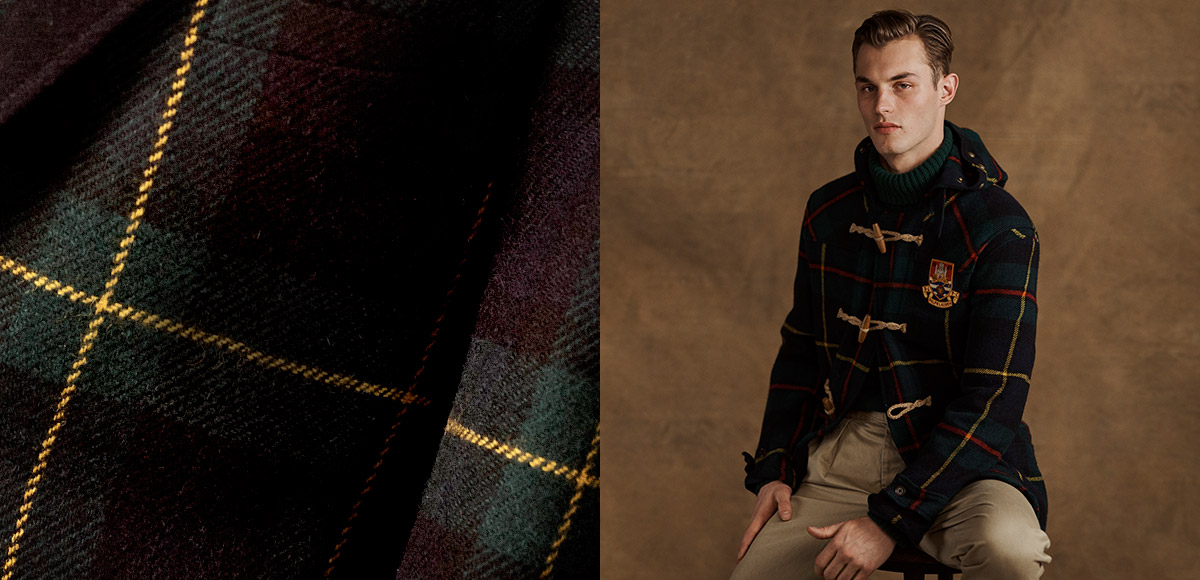 Man in plaid coat with toggle-and-loop closures & crest patch