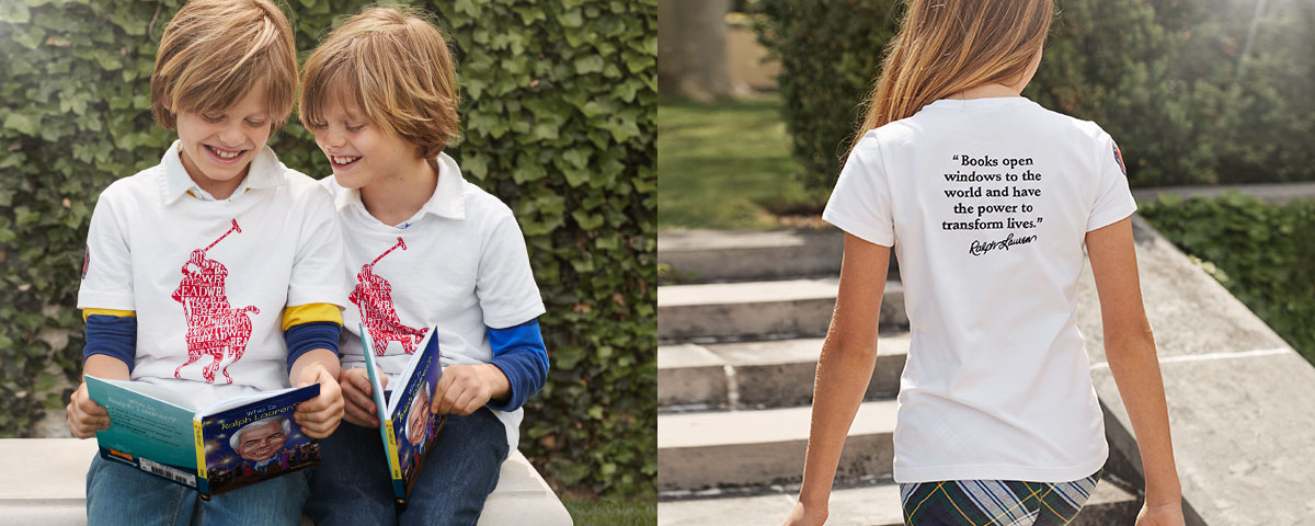 Boys in literacy tees read books; back of girl in literacy tee.