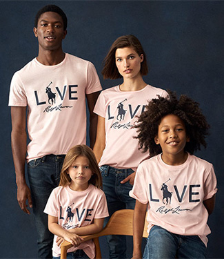 Man, woman & kids in Pink Pony graphic tees