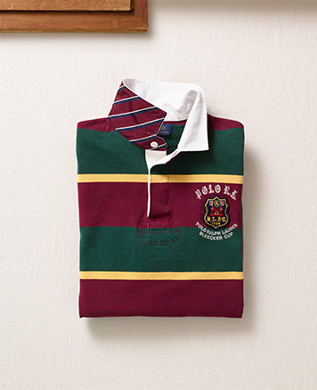 Red, green & yellow rugby shirt with repp-stripe undercollar