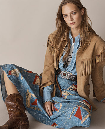 Woman in patchwork Southwestern-inspired skirt