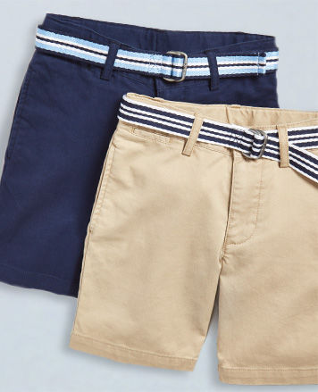 Chino shorts in khaki and navy with striped belts.