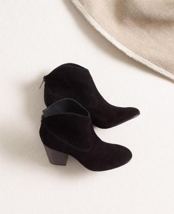 Low black velvet boots with heels