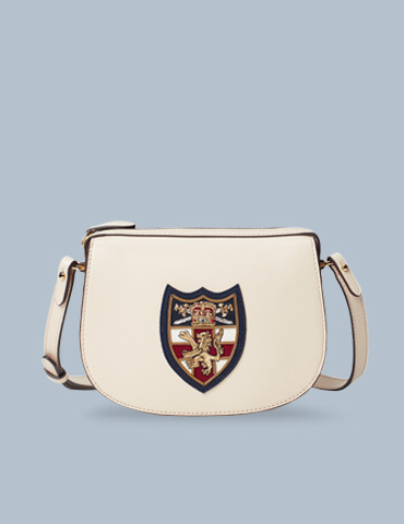 Off-white leather shoulder bag with large shield motif