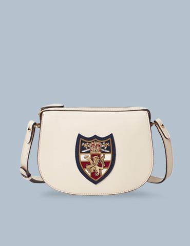 Off-white leather shoulder bag with large shield motif