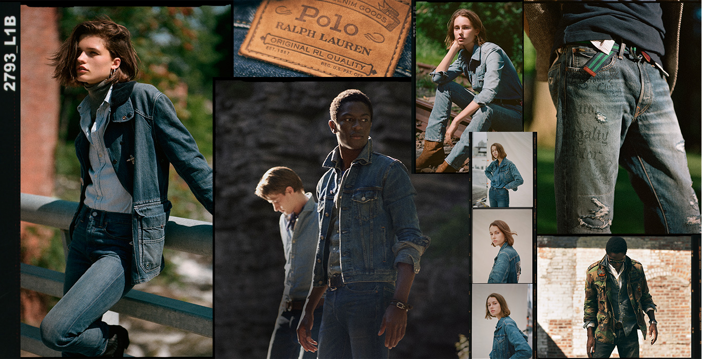 Collage of men & women in various Polo denim looks