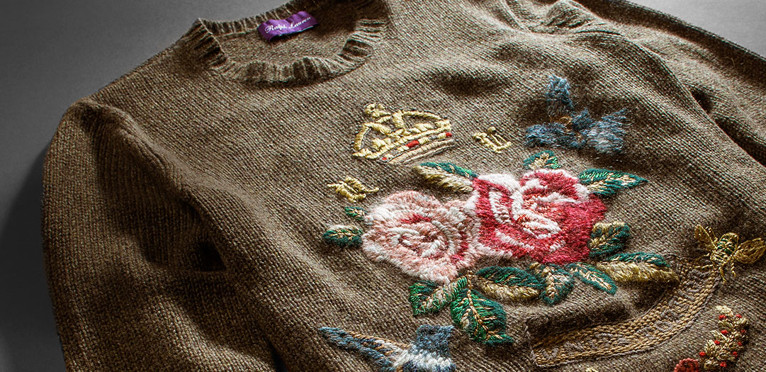 Tan sweater embroidered with colorful rose & bird motif