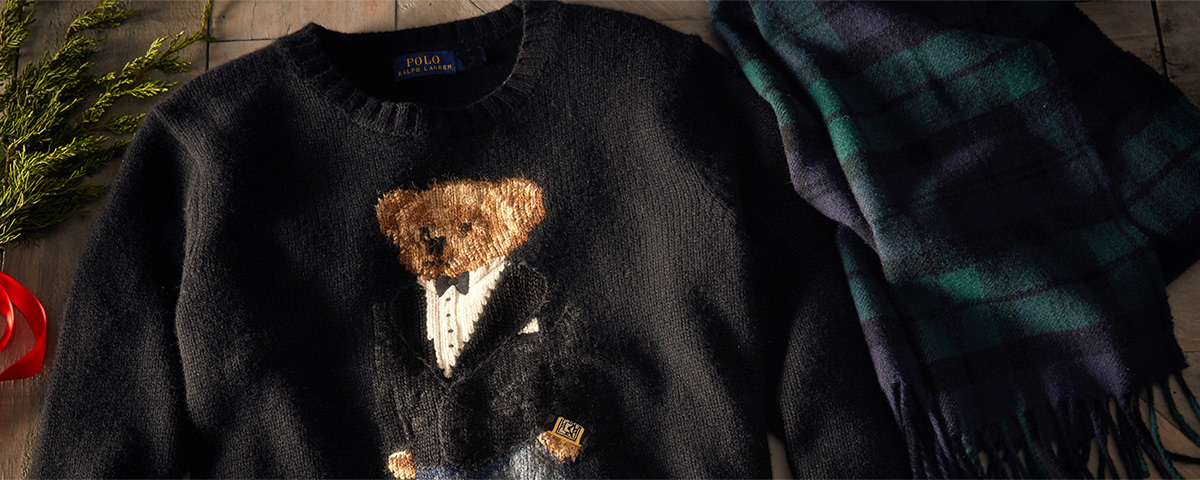 Image of sweater with Tuxedo Polo Bear knit graphic at front