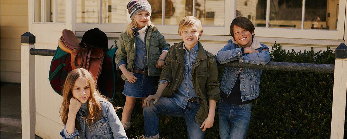 Kids wear denim outfits.