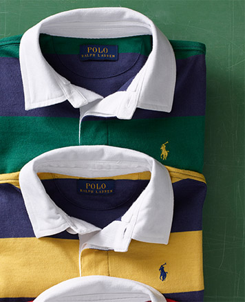 Yellow-and-navy striped Polo shirt and green-and-navy striped Polo shirt.