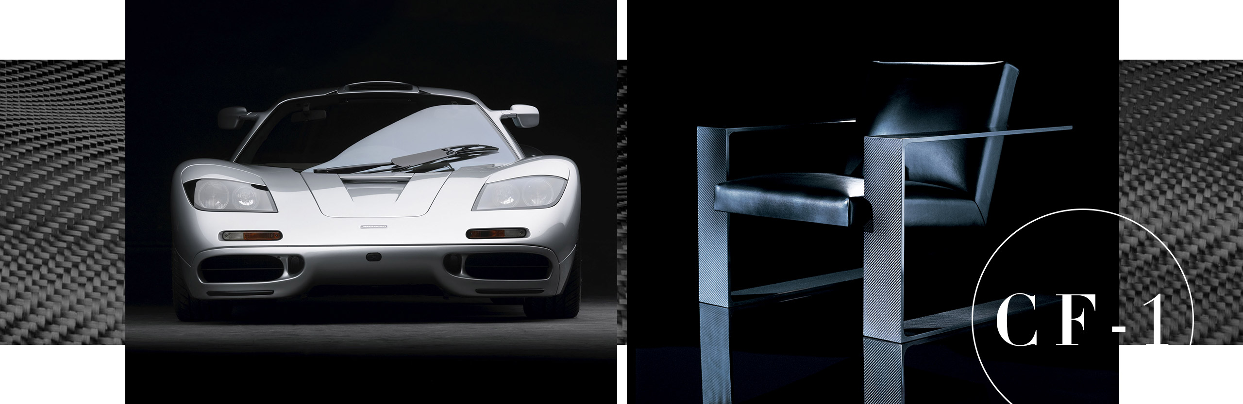 The McLaren F1, and the CF-1 chair from Ralph Lauren Home, inspired by the car's innovative use of carbon fiber