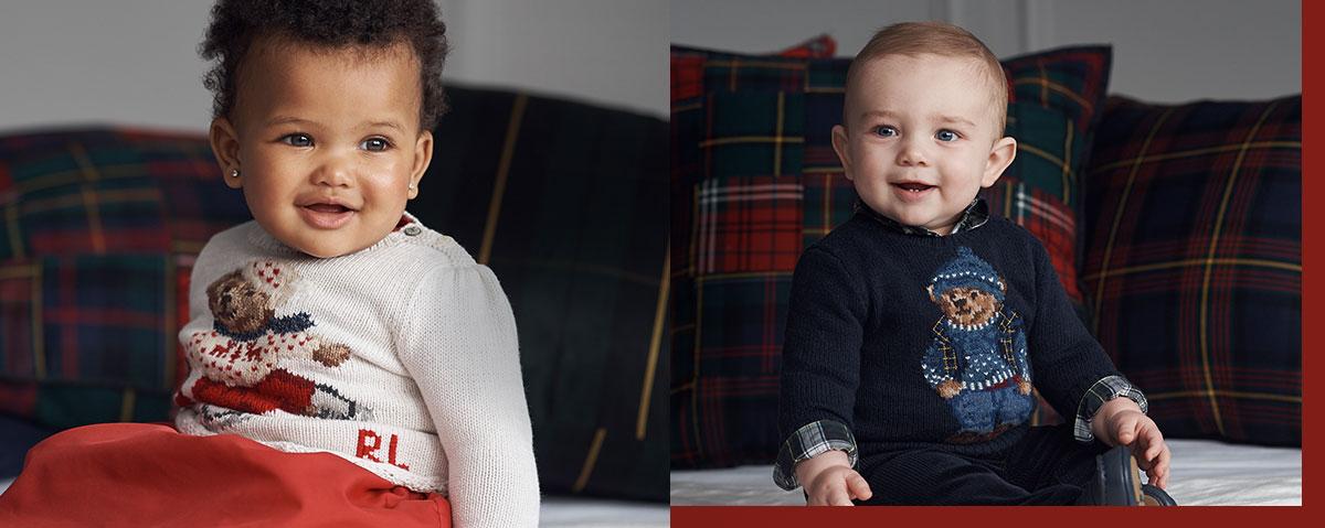 Babies wear knit Polo Bear sweaters.