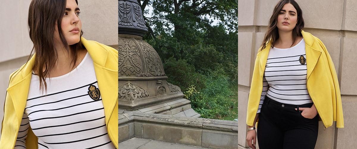 Woman in yellow blazer over nautical-stripe tee