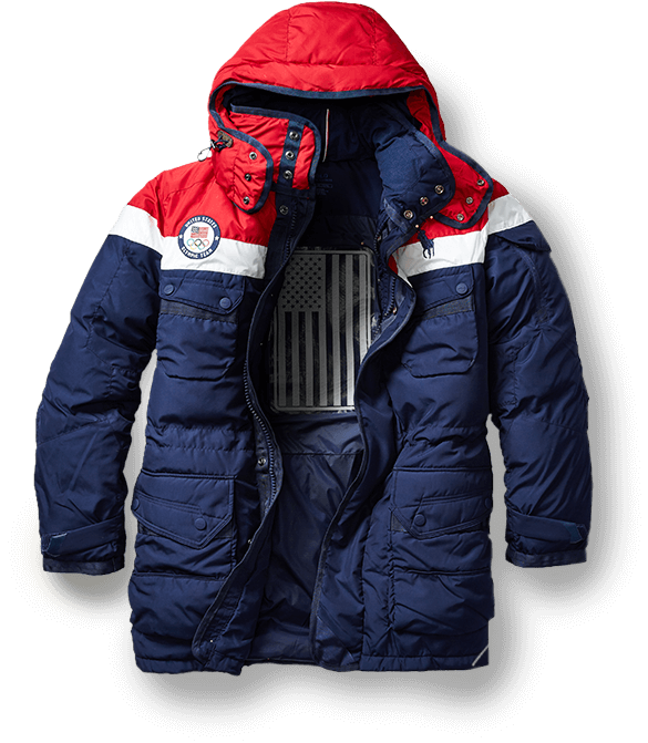 Red, white & blue heated down parka against snowy mountain background