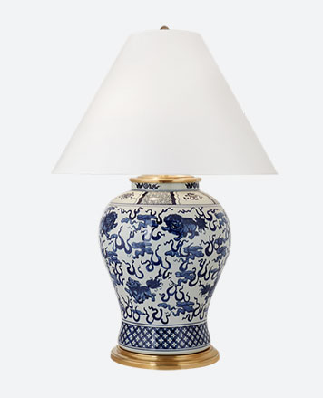 Lamp with white shade & blue floral-print base