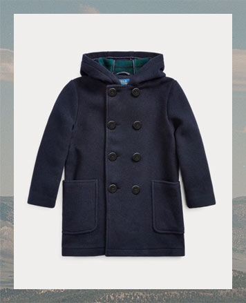 Navy coat with double-breasted buttoned front.