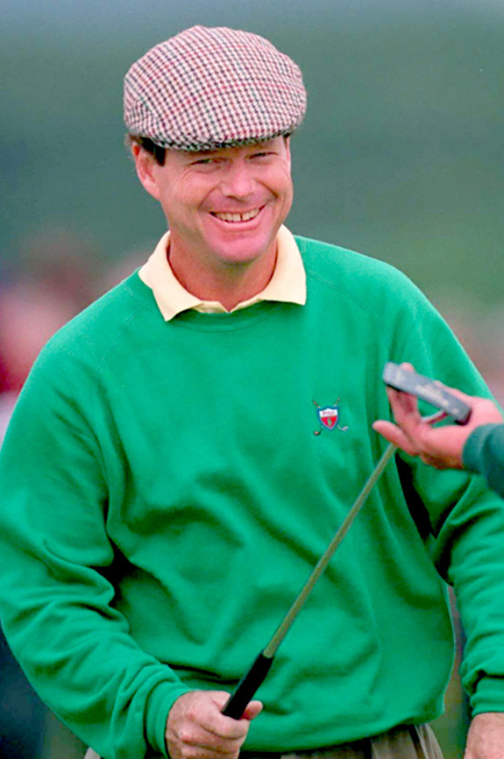 A handoff with a smile; Tom Watson during the second round of the Open Championship in Turnberry, Scotland, in 1994
