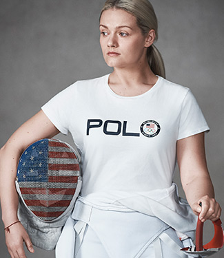 Woman in fencing uniform wears white Polo Olympics T-shirt
