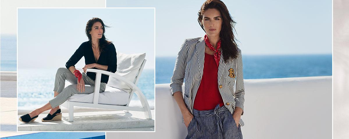Model Hilary Rhoda in striped pants & blazer