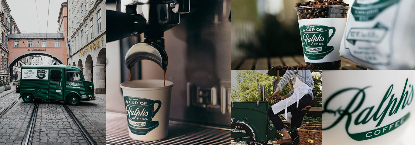 Collage of photographs of Ralph's Coffee truck, coffee cups, and espresso machine.