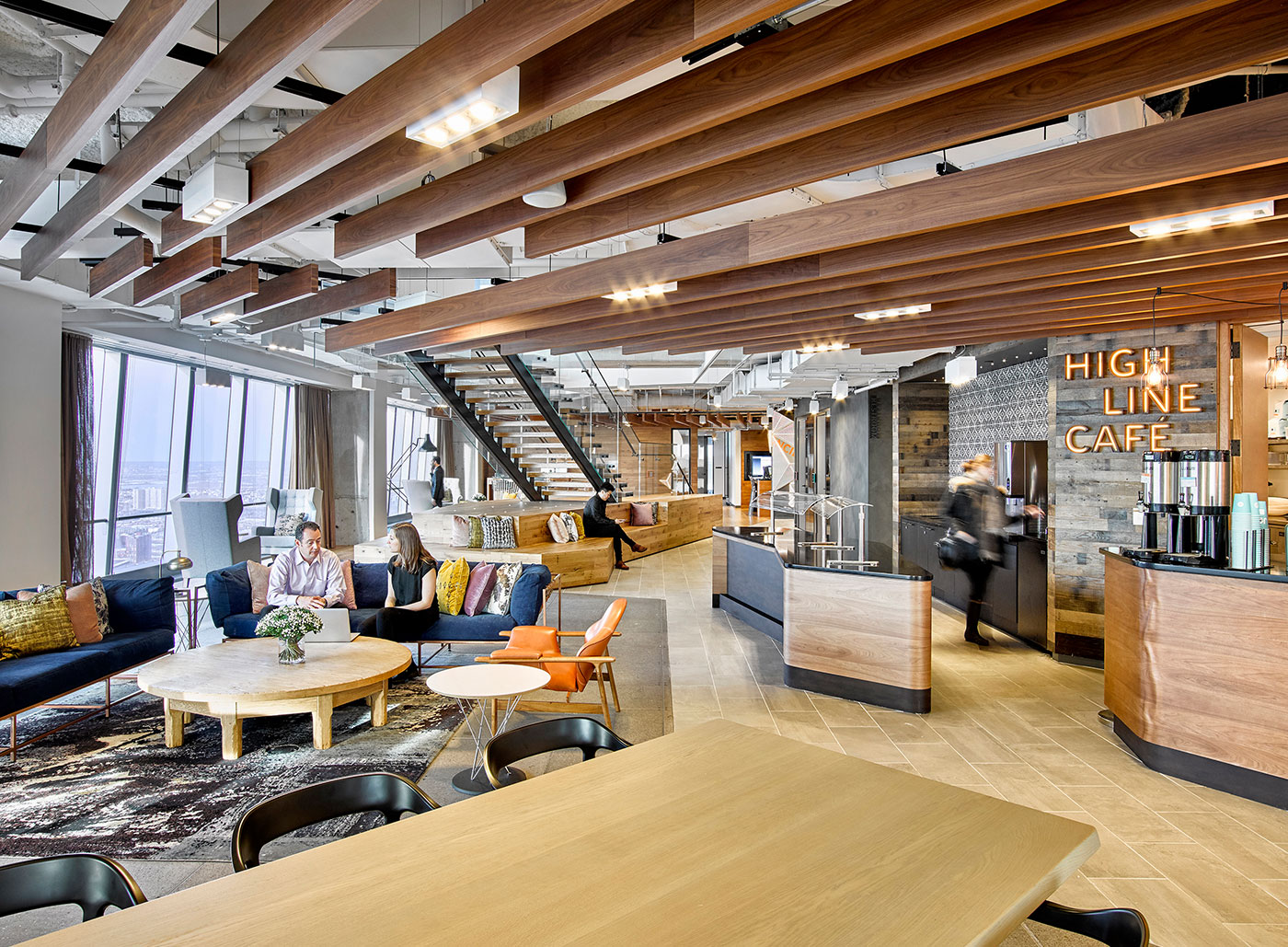 <strong>THE BOSTON CONSULTING GROUP: NEW YORK CITY |</strong> Designed to maximize employee interaction, the Hudson Yards space boasts seating arrangements complete with furniture by trendy designers like Stephen Kenn