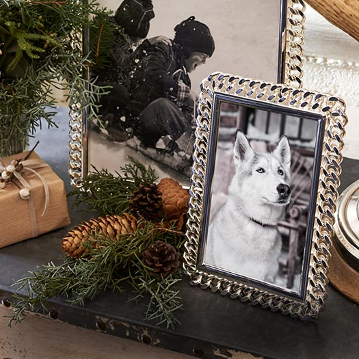 Decorative silver frames on table with pinecones.