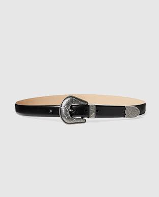 Floral-Engraved Leather Belt