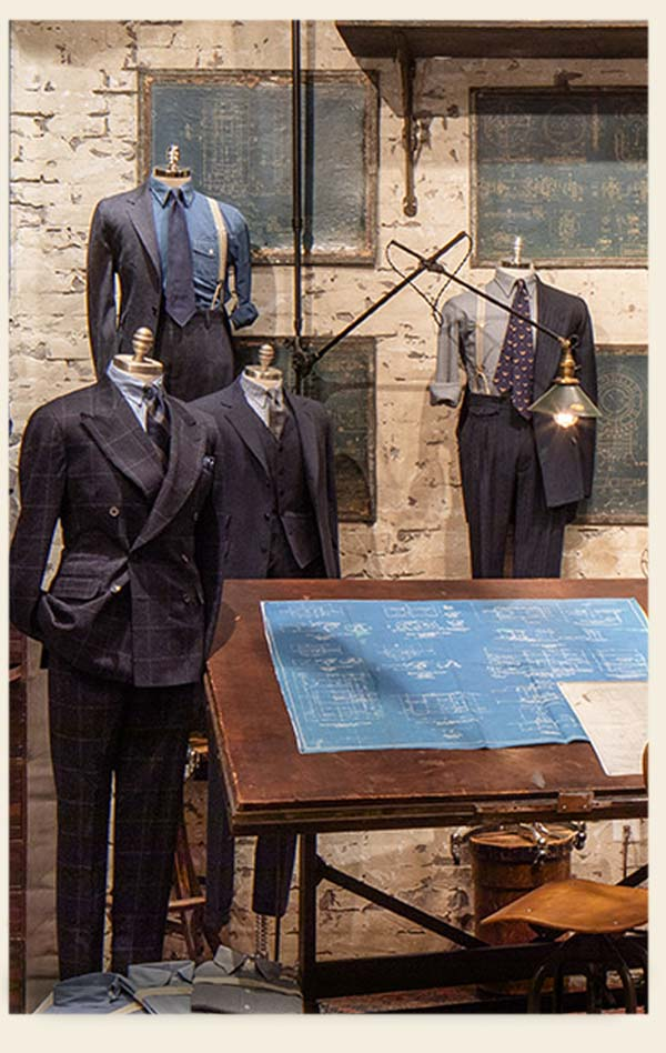 Men's tailored clothing on mannequins
