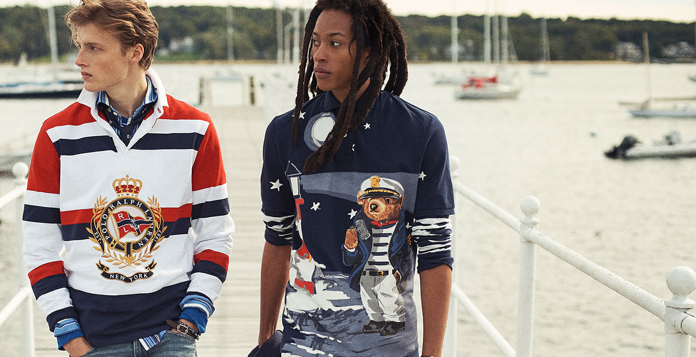 c1a87d6493 Men wear long-sleeve Polo shirts with nautical graphics
