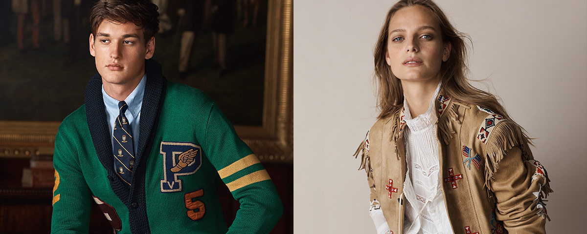 Man in Irish green cardigan with collegiate-inspired graphics; Woman in fringed tan jacket with Southwestern-inspired accents