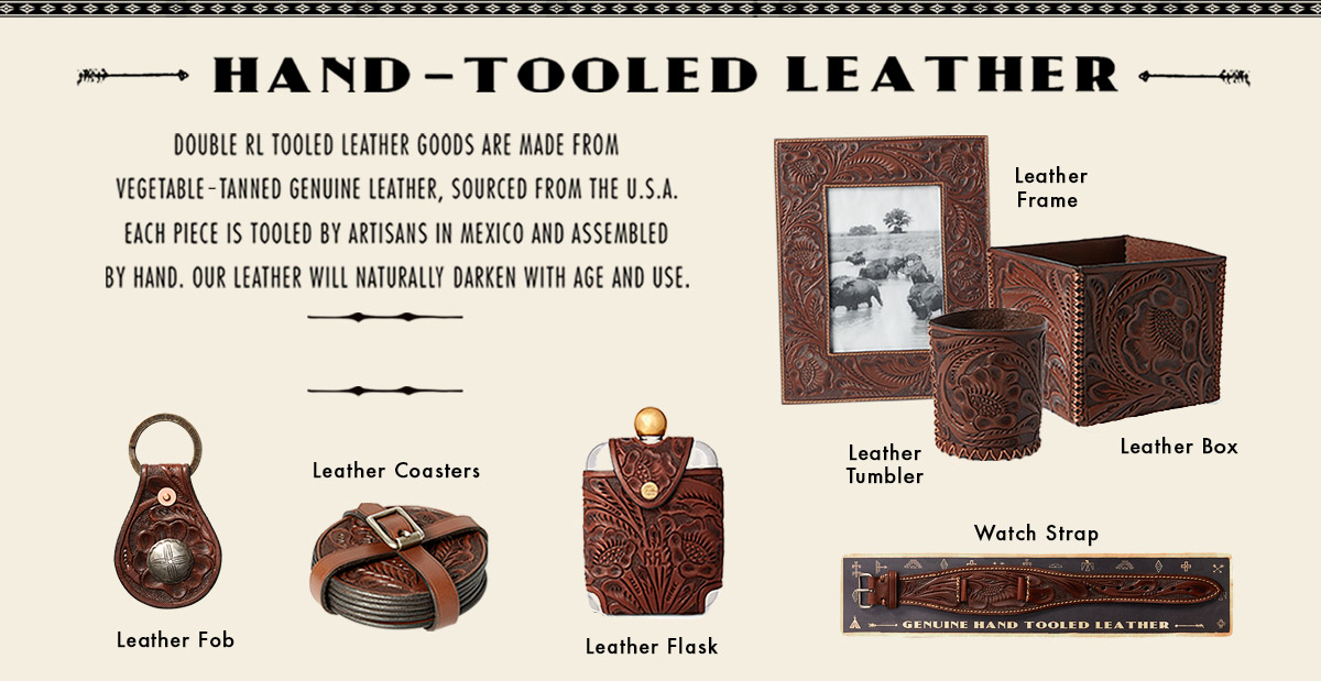 Hand-tooled brown leather accessories