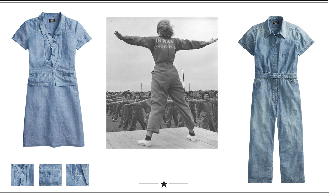 612db9ead Vintage photograph of woman in military coverall. Chambray Dress