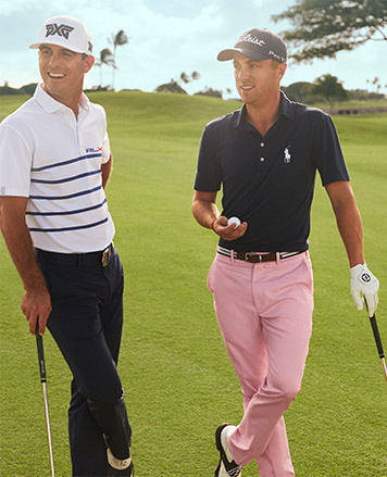 Billy Horschel & Justin Thomas on golf course in RL golf pants